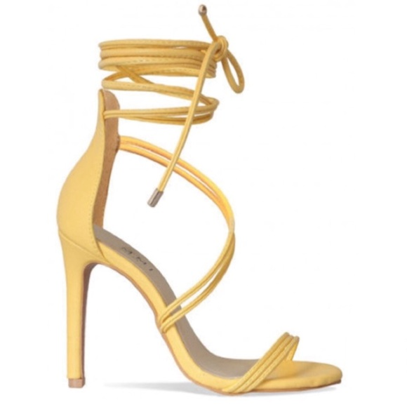 Yellow Lace Up Heels